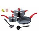 grossiste Aides de cuisine: 7 pièces batterie  de cuisine   rouges  aides de ...