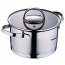 groothandel Potten & pannen: Roestvrij stalen  pan met glazen deksel 1,75 liter