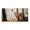 Leinwandbild Hirsch im Wald 120x60 cm