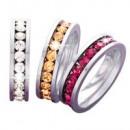 anelli in acciaio inox con strass, set di 3, 20 mi