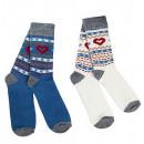 Großhandel Strümpfe & Socken: Herzchen-Socken,  2er-Set,  blau/beige,Größe: ...