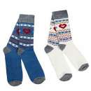 wholesale Stockings & Socks: Luv Socks, set of  2, blue / beige, Size: 39/42
