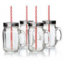 wholesale Drinking Glasses: Henkelbecher Set  of 4 with lid and straw
