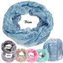 Großhandel Tücher & Schals: Loop Schlauchschal  Schal  Blumen und Blätter
