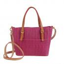 Großhandel Handtaschen: Made in Italy -Echtleder Henkeltasche Fuchsia
