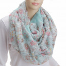 wholesale Scarves & Shawls: Snood scarf Loops   Flowers and blossoms' Green