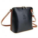 Genuine leather  bag ladies bag black / cognac