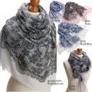 Großhandel Tücher & Schals: Schal  Netz m.  Blüten  20%  Baumwolle gute ...