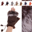 wholesale Gloves: Fingerless gloves rabbit fur