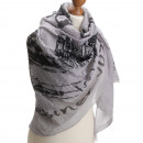 grossiste Vetement et accessoires: Echarpe  Paris   bonne gris avec 20% de coton Qualt