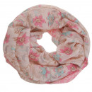 wholesale Scarves & Shawls: Snood scarf Loops   Flowers and blossoms' Pink