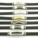 nagyker Ékszerek és órák: 12 acél és bőr  karkötők 10x3 fekete Made in Spain
