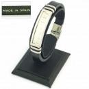 Großhandel Schmuck & Uhren: BLACK Lederarmband  Stahl und 10x3 mm. Modell 02