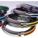 grossiste Bracelets: Bracelet avec 3  garnitures acier et 3mm en caoutch