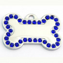 wholesale Garden & DIY store: Steel bone pendant  with rhinestones DARK BLUE