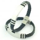 grossiste Bijoux & Montres: Bracelet en acier  et cuir tressé 10x3 mm. Lisa