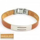 groothandel Sieraden & horloges: 1.5mm staal en  lederen armband Made in Spain 1 Bro