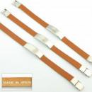 Großhandel Armbänder: Braunes Leder und  Stahlarmband glatt fornitura