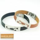 Großhandel Schmuck & Uhren: 1,5 mm Stahl und  Leder Armband Made in Spain 2 SOR