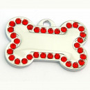wholesale Garden & DIY store: Steel bone pendant with rhinestones RED