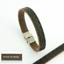wholesale Jewelry & Watches: Steel and die-cut  leather handmade bracelets 01