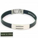groothandel Sieraden & horloges: 1.5mm staal en  lederen armband Made in Spain 1 Zwa