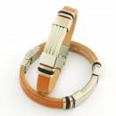 Großhandel Schmuck & Uhren: Stahl und Leder  10x3 Armbänder Made in Spain Brown