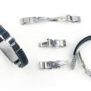 Großhandel Schmuck & Uhren: Stahl Verschlüsse  für Armbänder 10x3 mm Taste