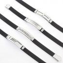 Großhandel Schmuck & Uhren: Armband Stahl und  Gummi gestempelt fornitura