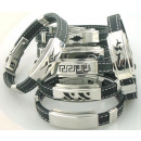 wholesale Jewelry & Watches: Steel and sewn  rubber bracelets. 3 mm