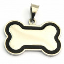 wholesale Garden & DIY store: Stainless Steel  Tag Pendant Bone enameled BLACK