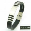 groothandel Sieraden & horloges: Lederen armband  fornitura staal 25 mm. BLACK