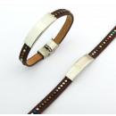 groothandel Sieraden & horloges: Leren armband  ingelegd metalen en staal BROWN