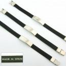 grossiste Bijoux & Montres: Cuir lisse et  bracelet en acier noir fornitura