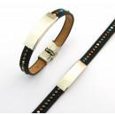 ingrosso Gioielli & Orologi: braccialetto di  cuoio intarsiato in metallo e acci