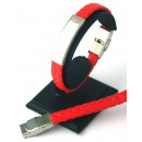 Leather and  Stainless Steel bracelet RED