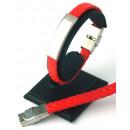 Großhandel Armbänder: Armband aus Leder  und Stahl zu RED aufnehmen