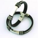 Großhandel Schmuck & Uhren: 8x3 mm  Kautschukarmband mit Stahlseil