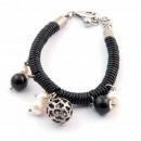 Großhandel Armbänder: Lederarmband,  Perlen und versilberte 08 Zamak