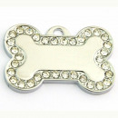 wholesale Garden & DIY store: Steel bone pendant  with rhinestones WHITE