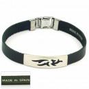 Großhandel Schmuck & Uhren: 1,5 mm Stahl  Armband Leder Made in Spain 4 Schwarz