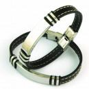 groothandel Sieraden & horloges: Lederen armband  met stiksels en fornitura BLACK