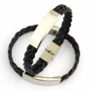 groothandel Sieraden & horloges: Gevlochten leren  armband en  roestvrij staal ...