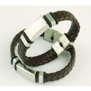 groothandel Sieraden & horloges: Armband staal en  leer gevlochten 14x3 mm. BROWN