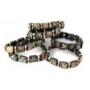 groothandel Sieraden & horloges: Bone armbanden met  vierkante kralen en ballen
