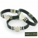 Engravable Leather  and stainless steel bracelet