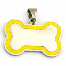 wholesale Garden & DIY store: Stainless Steel Tag Pendant Bone enameled YELLOW