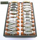groothandel Sieraden & horloges: Display met 30  staal en leer armbanden. P_254M