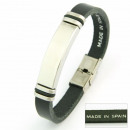 Steel leather  handmade bracelets plate 40mm BLACK