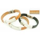 groothandel Sieraden & horloges: Lederen armband en  roestvrij staal stempelen ASSOR
